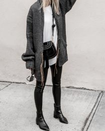 Tips how to wear cardigans and leggings in this fall 63