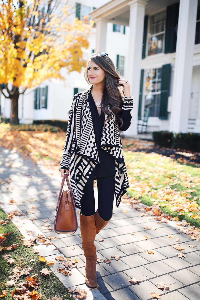 Tips how to wear cardigans and leggings in this fall 66