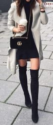 Inspiring skirt and boots combinations for fall and winter outfits 14