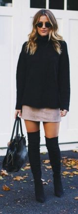 Inspiring skirt and boots combinations for fall and winter outfits 18