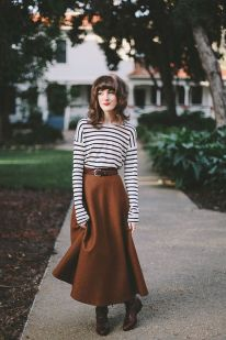Inspiring skirt and boots combinations for fall and winter outfits 22