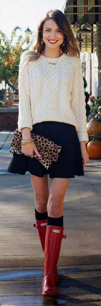 Inspiring skirt and boots combinations for fall and winter outfits 25