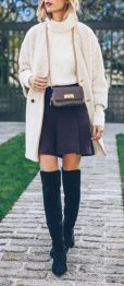 Inspiring skirt and boots combinations for fall and winter outfits 36