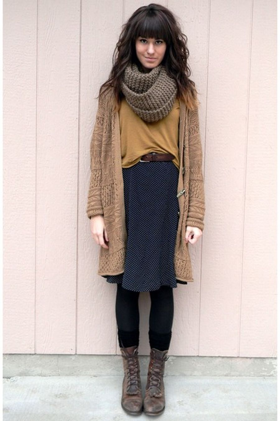 Inspiring skirt and boots combinations for fall and winter outfits 63