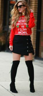 Inspiring skirt and boots combinations for fall and winter outfits 67