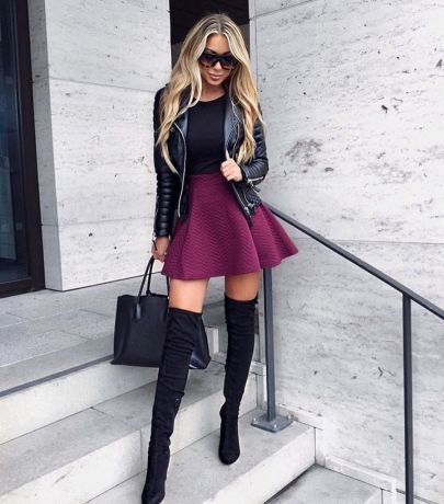 Inspiring skirt and boots combinations for fall and winter outfits 83