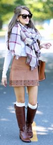 Inspiring skirt and boots combinations for fall and winter outfits 9