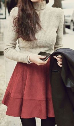 Skirt trends ideas for winter outfits this year 66