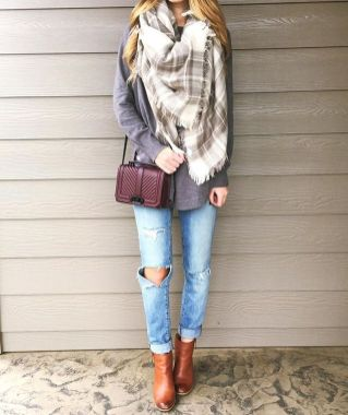 Fashionable scarves for winter outfits 114
