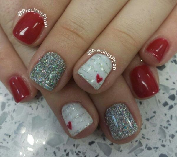 Valentine Hearts Nails