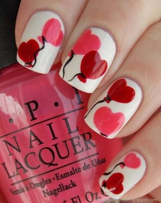 Lovely valentine nails design ideas 16
