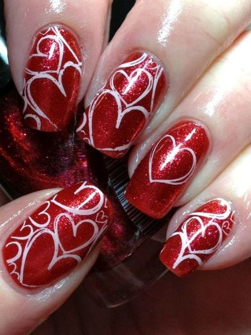 Lovely valentine nails design ideas 27