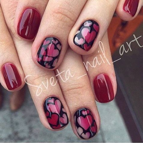 Lovely valentine nails design ideas 57