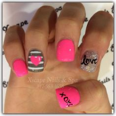 Lovely valentine nails design ideas 66