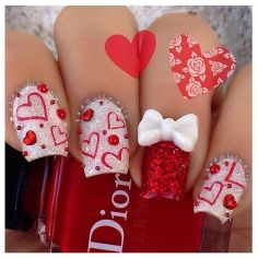 Lovely valentine nails design ideas 71