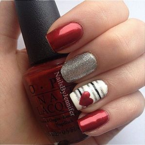 Lovely valentine nails design ideas 77