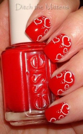 Lovely valentine nails design ideas 85