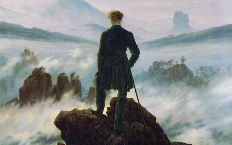 Risultati immagini per il viandante sul mare di nebbia