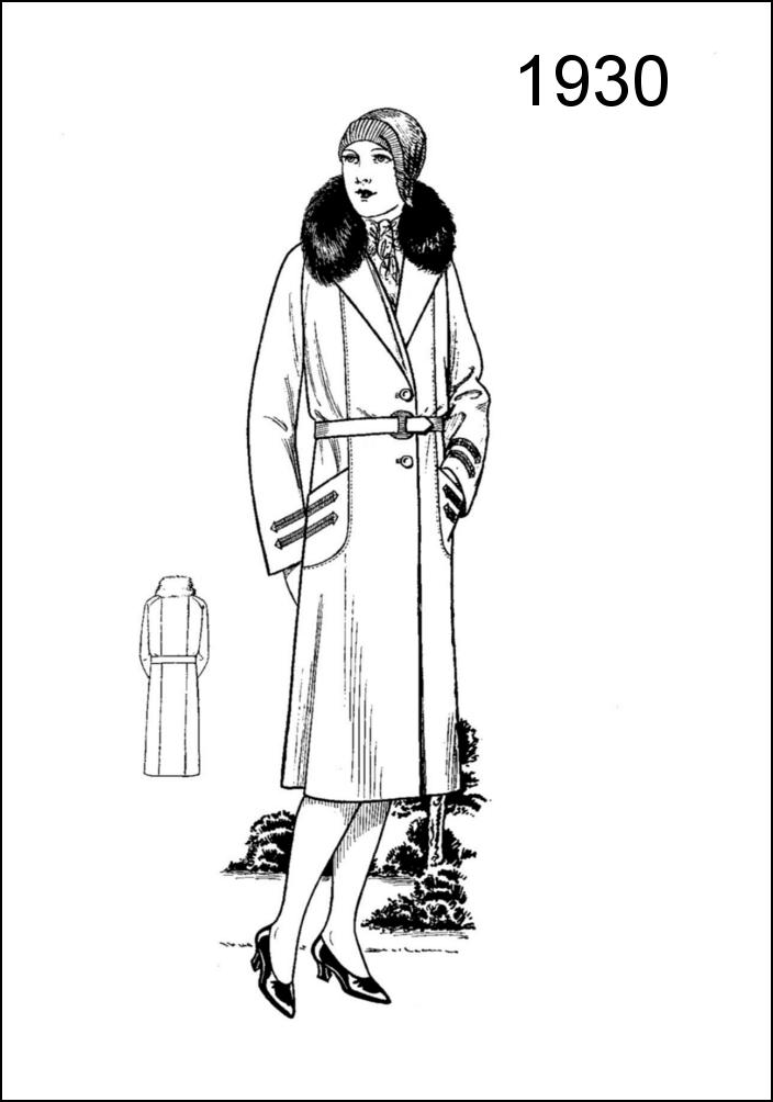 1930s Coats from Women's Wear Fashion Pattern Draft Chart