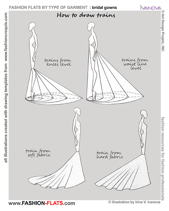 How To Draw Dress With Train