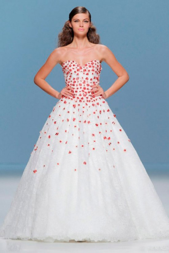 wedding dress in a small red flower Cymbeline