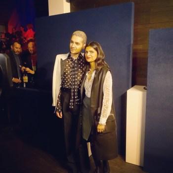 Sänger Bill Kaulitz von Tokio Hotel und Designerin Leyla Piedayesh. (Credit: Fashion-Meets-Media.com)