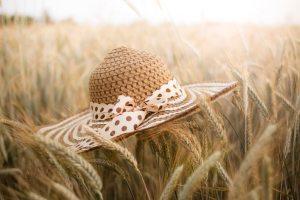 つば広の麦わら帽子