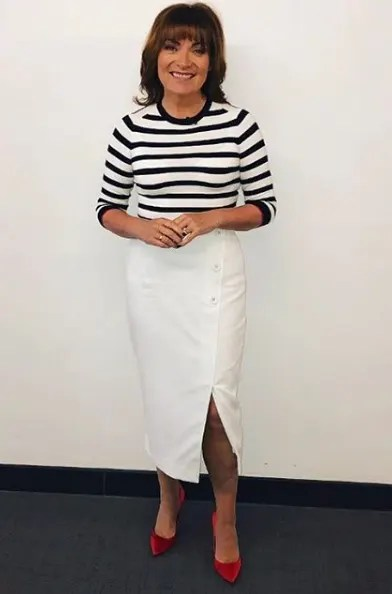 Lorraine Kelly Wears Black And White Striped Zara Top And