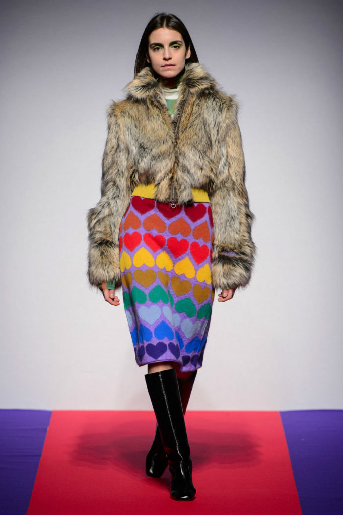 Marco Rambalsi 2018 Faux Fur and Pencil Skirt With Hearts