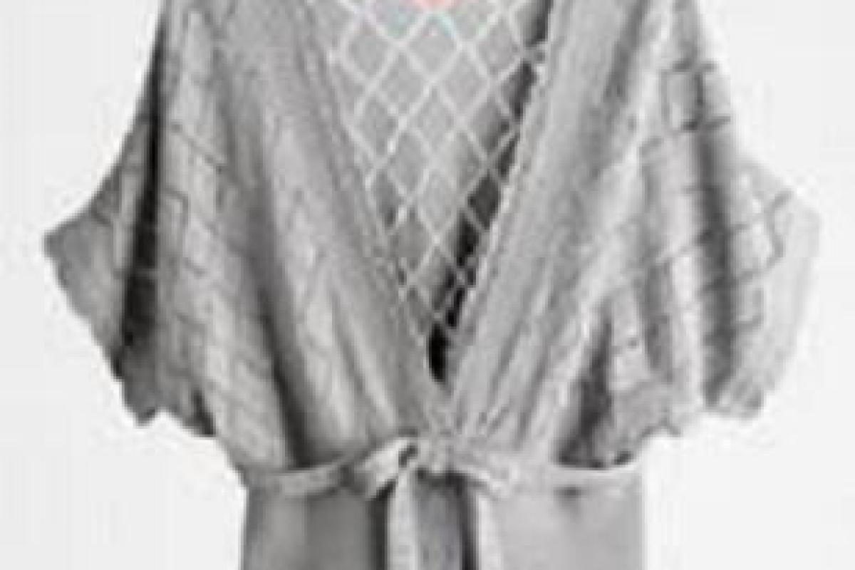 36d28c73f0f ELLE Pointelle Cardigan in Grey