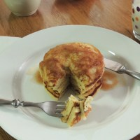 Homemade Pancakes with Apple Butter Syrup