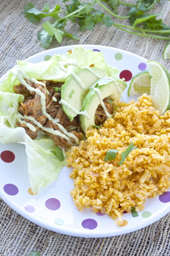 Cauliflower Rice with Lettuce Wraps