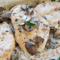 Chicken Cutlets with Mushroom Cream Sauce