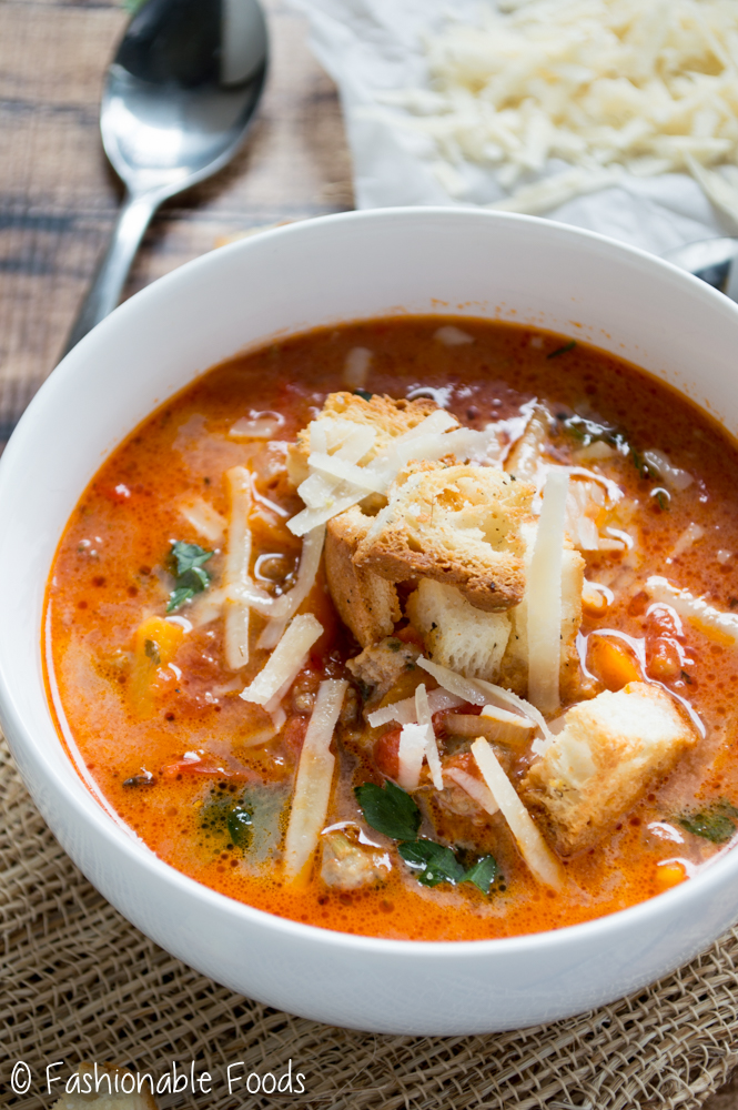 Sausage and Pepper Soup with Croutons