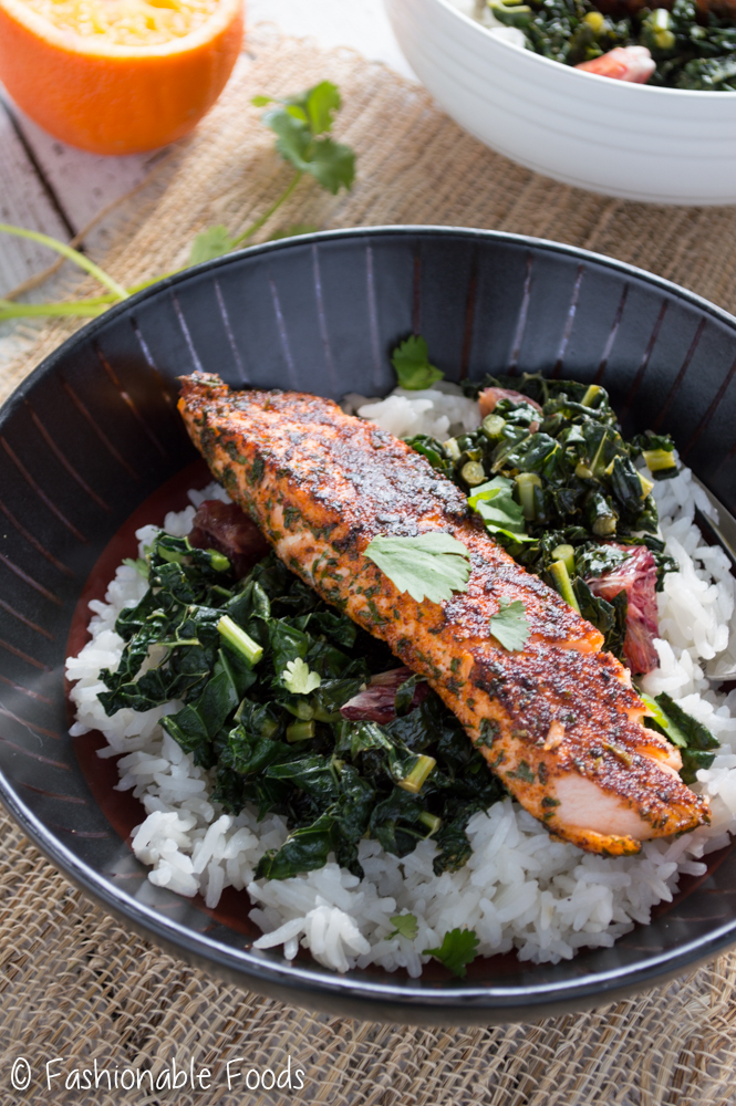 Blackened Salmon, Kale, and Rice Bowls