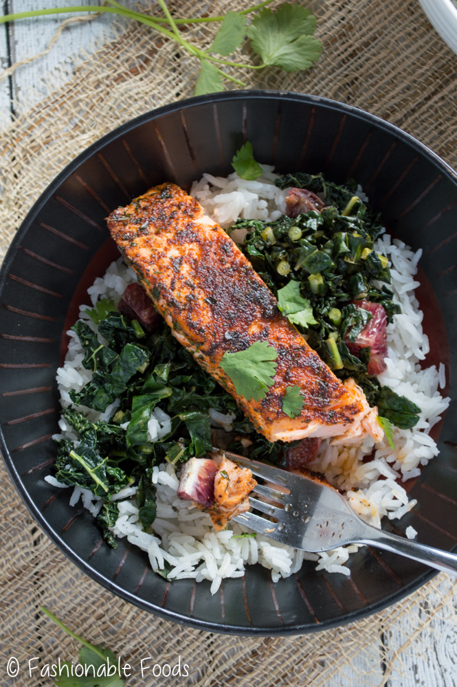 Blackened Salmon over Kale and Rice
