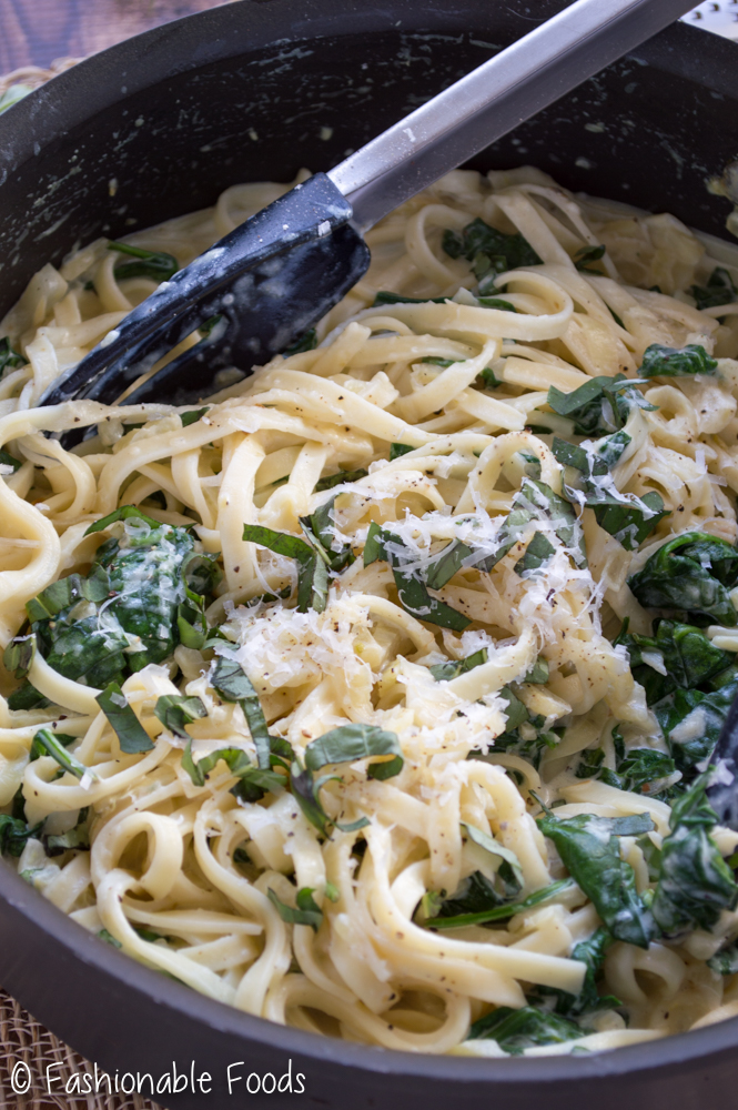 Creamy Parmesan Fettuccine with Spinach and Caramelized Fennel
