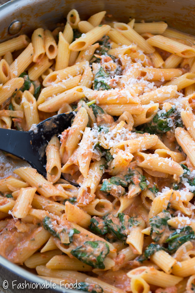 Pasta with Sun-Dried Tomato Cream Sauce and Spinach