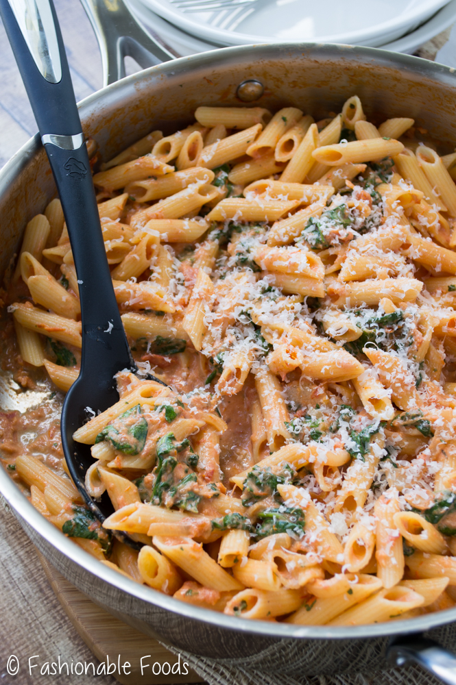 Penne with Sun-Dried Tomato Cream Sauce and Spinach