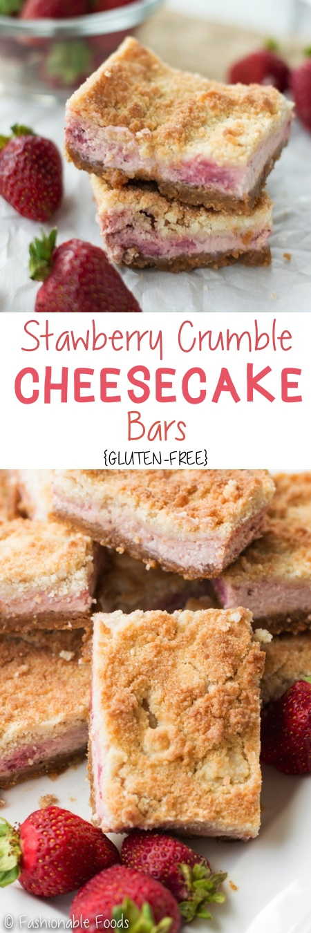 Strawberry Crumble Cheesecake Bars Pin