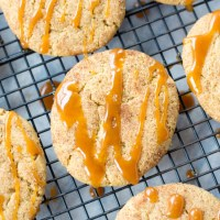 Brown Butter Pumpkin Snickerdoodles {with Caramel Drizzle}