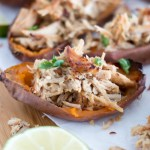 Slow Cooker Pork Carnitas {in Sweet Potato Skins}