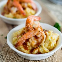 Spicy Shrimp and Goat Cheese Polenta {plus my tips for throwing a viewing party for the Grammy Awards!}