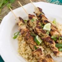 Spicy Thai Chicken Skewers {with Thai-Style Fried Cauliflower Rice}