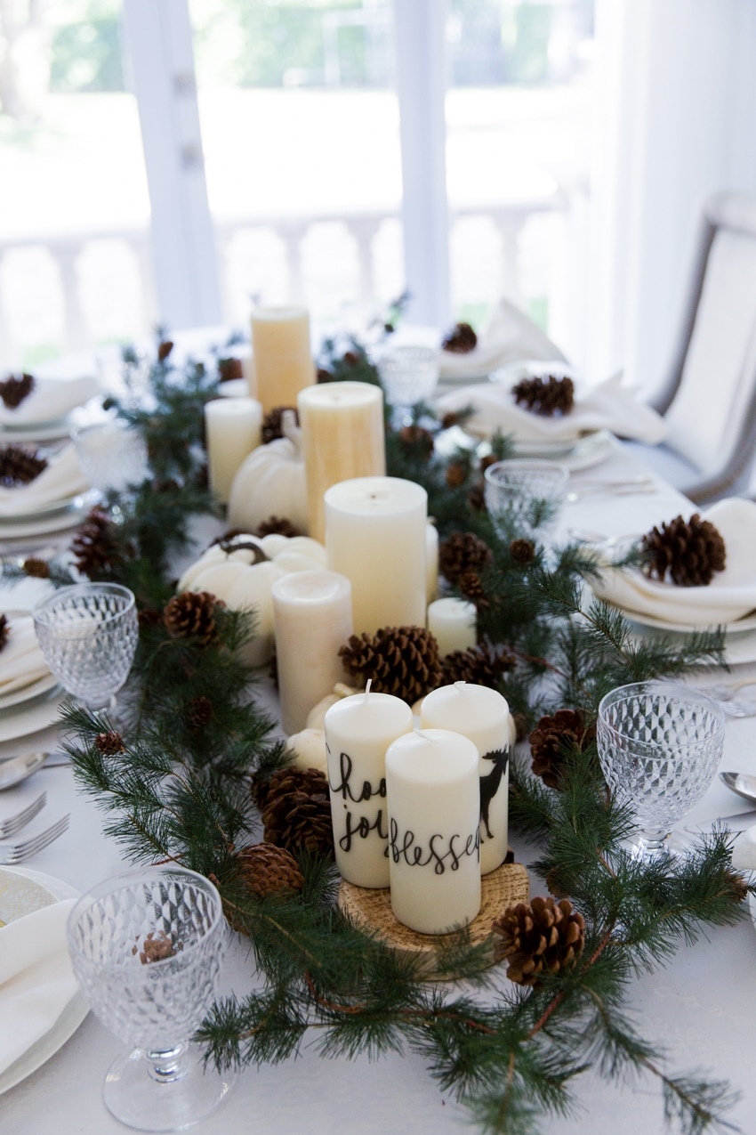 kitchen table nook stoves gas thanksgiving garland & candle centerpiece - fashionable ...