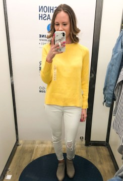 ON white jeans-yellow sweater