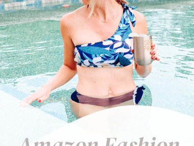 7 One Shoulder Bathing Suits for Women on Amazon featured by top Pittsburgh fashion blogger, Fashionable Late Mom.