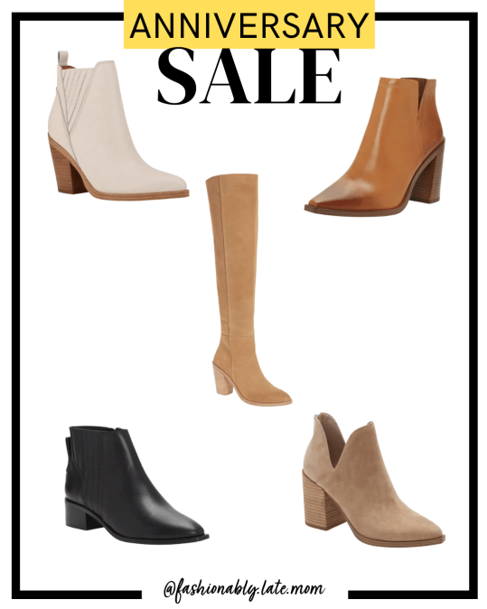 2021 nordstrom anniversary sale, booties, steve madden, vince camuto, boots | Nordstrom Anniversary Sale Preview by popular Pittsburgh fashion blog, Fashionably Late Mom: collage image of Nordstrom boots.
