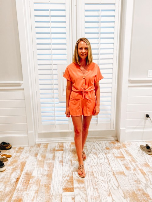 amazon romper, vacation outfits, 30a outfit ideas   30A Packing List by popular Pittsburgh life and style blog, Fashionably Late Mom: image of a woman wearing a orange Amazon romper with brown Tory Burch sandals.