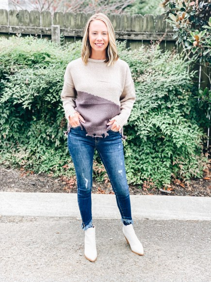 Pink Lily Autumn Awaits Collection, fall fashion, sweaters   Pink Lily by popular Pittsburgh fashion blog, Fashionably Late Mom: image of a woman wearing a Pink Lilly color block sweater, distressed jeans, and white ankle boots.